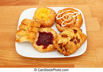 Danish pastries on a plate