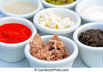 Selection of different sauces dips