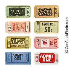Tickets - Selection Of Differnet Old Admit One Tickets ...
