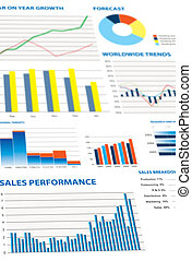 selection of financial and economic graphs as a background...