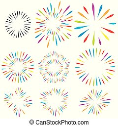 Selection of fireworks on white isolated background. Vector holiday elements for design.