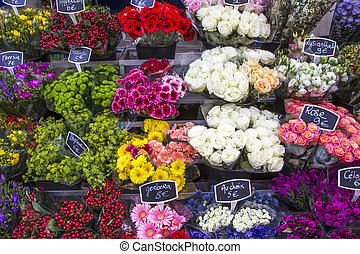Selection of flowers on display in Paris, France