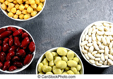 Selection of Healthy Beans, Chickpeas, Red Kidney Beans, Broad Beans and Cannellini Beans