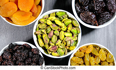 Selection of Healthy Fruit and Nut Snacks