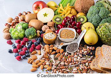 Selection of healthy rich fiber sources vegan food for...
