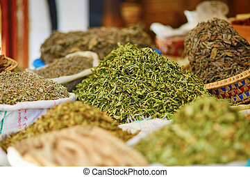 Selection of herbs on a traditional Moroccan market