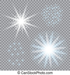 Selection of light stars on a transparent background. Blue vector glare for your design.