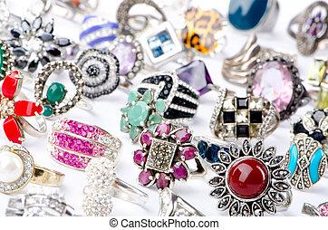 Selection of many precious rings
