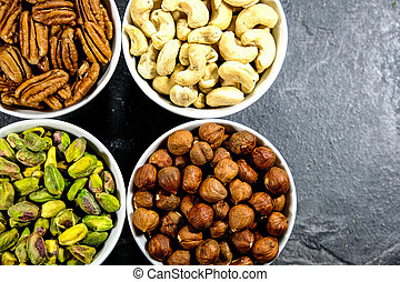 Selection of Mixed Nuts, Pistachio nuts, Pecan Nuts, Cashew Nuts and Hazel Nuts