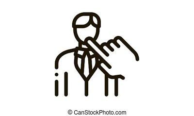 selection of new employee man Icon Animation. black selection of new employee man animated icon on white background