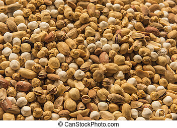 Selection of nuts on display at a market stall