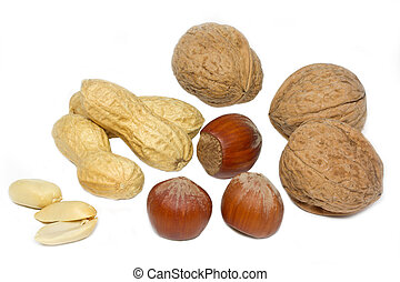 Selection of nuts on white background