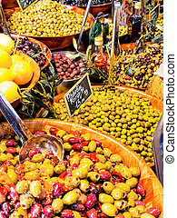 selection of olives in a market