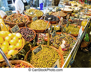 selection of olives in a market symbolic photo for food, ...