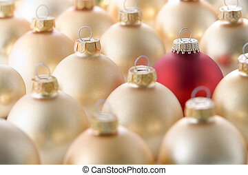 Selection of red and gold christmas decorations