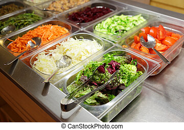 selection of salads in the restaurant