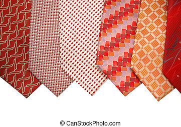 Selection of silk ties isolated on white