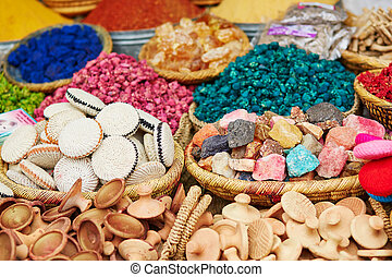 Selection of spices on a traditional Moroccan market