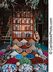 Selection of spices on a traditional Moroccan market (souk) in Marrakech, Morocco