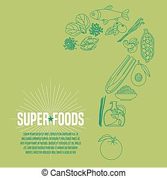 Selection of superfoods products, berries, green in vector