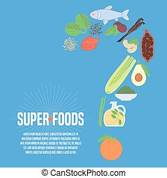 Selection of superfoods products, berries, greens in vector