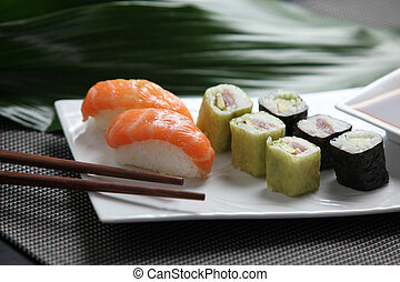 Selection of sushi on a plate