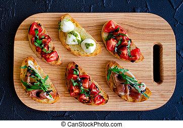 Selection of tasty bruschetta