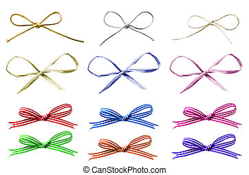 A selection of various plain and patterned tied bows in a variety of materials, cut out and isolated on white.