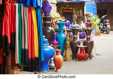 Selection of traditional ceramics on Moroccan market