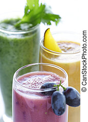selection of various fruit smoothies