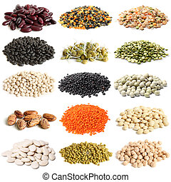 Selection of various legumes on white background