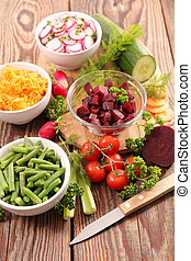 selection of vegetable salad in bowl
