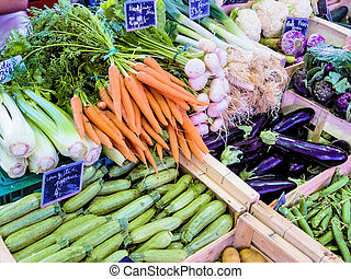 selection of vegetables at the market, symbolic photo for...
