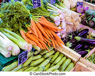 selection of vegetables in the market, symbolic photo for ...