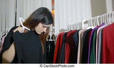 Selection of women's clothing in the store