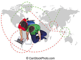 selection travel with man and woman traveller
