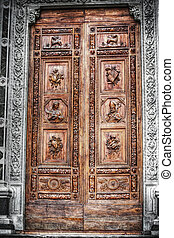 selective desaturation of Santa Croce front door in Florence...