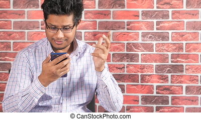 Businessman In a video conference discussing on smart phone