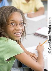 (selective, focus), clase, estudiante, escritura
