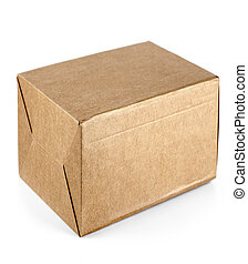 Selective focus close up of a cardboard box on white background
