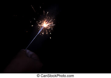Selective focus. Fireworks Holiday firework in night Firecracker sparks.