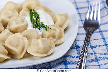 Selective focus. Hot dumplings with sour cream and dill.