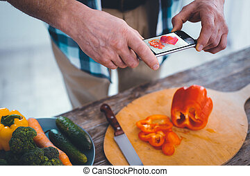 Selective focus of a modern innovative smartphone