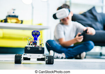 Selective focus of a modern robot on the floor