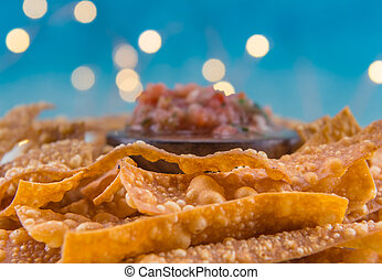 Selective Focus of Crispy Fried Bubbles on Homemade Chips