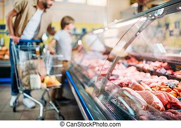 fresh raw meat in supermarket
