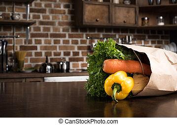 food in paper bag