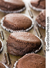 Selective focus on fresh baked chocolate cup cakes in the baking tray