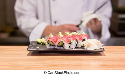 Selective focus on ready tasty sushi rolls - That would be...
