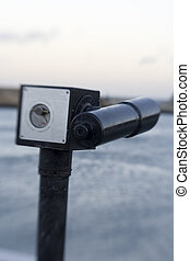 Selective focus on Retro Seaside Telescope, shot with...